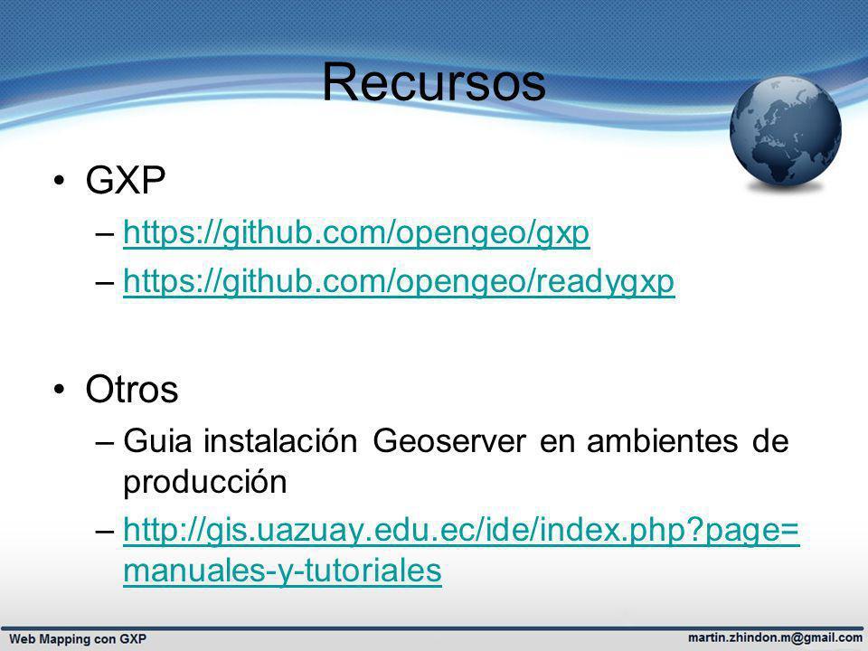 Recursos GXP –https://github.com/opengeo/gxphttps://github.com/opengeo/gxp –https://github.com/opengeo/readygxphttps://github.com/opengeo/readygxp Otros –Guia instalación Geoserver en ambientes de producción –http://gis.uazuay.edu.ec/ide/index.php?page= manuales-y-tutorialeshttp://gis.uazuay.edu.ec/ide/index.php?page= manuales-y-tutoriales