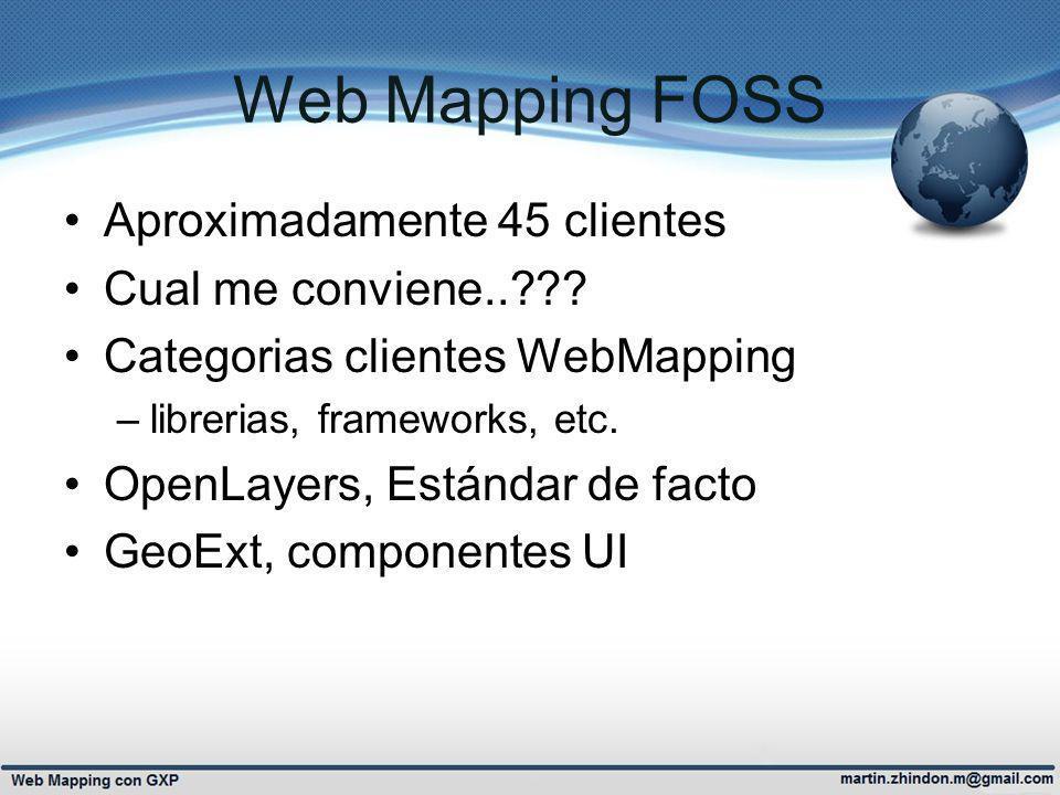 Web Mapping FOSS Aproximadamente 45 clientes Cual me conviene..??? Categorias clientes WebMapping –librerias, frameworks, etc. OpenLayers, Estándar de
