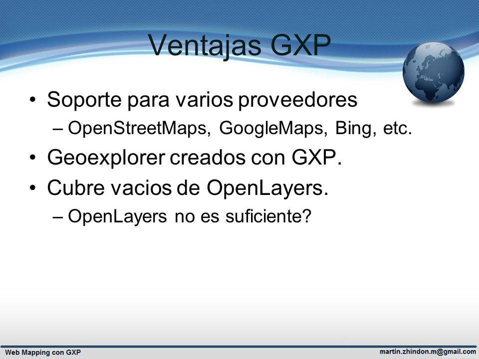 GXP & GEOSERVER GXP consume servicios OGC Aprovecha extensiones de Geoserver –Impresión json –Proxy –SLD/SE standard OGC (SLD AtlasStyler)