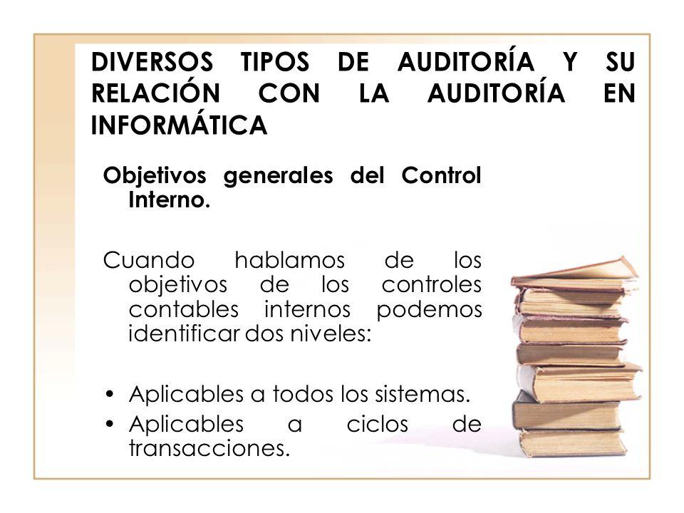 DIVERSOS TIPOS DE AUDITORÍA Y SU RELACIÓN CON LA AUDITORÍA EN INFORMÁTICA Objetivos generales del Control Interno. Cuando hablamos de los objetivos de