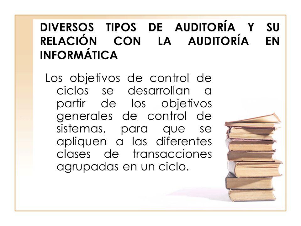 DIVERSOS TIPOS DE AUDITORÍA Y SU RELACIÓN CON LA AUDITORÍA EN INFORMÁTICA Los objetivos de control de ciclos se desarrollan a partir de los objetivos