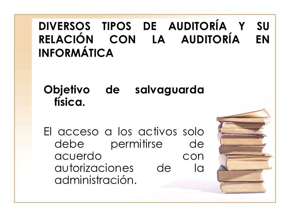 DIVERSOS TIPOS DE AUDITORÍA Y SU RELACIÓN CON LA AUDITORÍA EN INFORMÁTICA Objetivo de salvaguarda física. El acceso a los activos solo debe permitirse