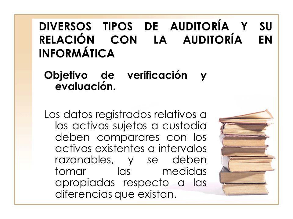 DIVERSOS TIPOS DE AUDITORÍA Y SU RELACIÓN CON LA AUDITORÍA EN INFORMÁTICA Objetivo de verificación y evaluación. Los datos registrados relativos a los