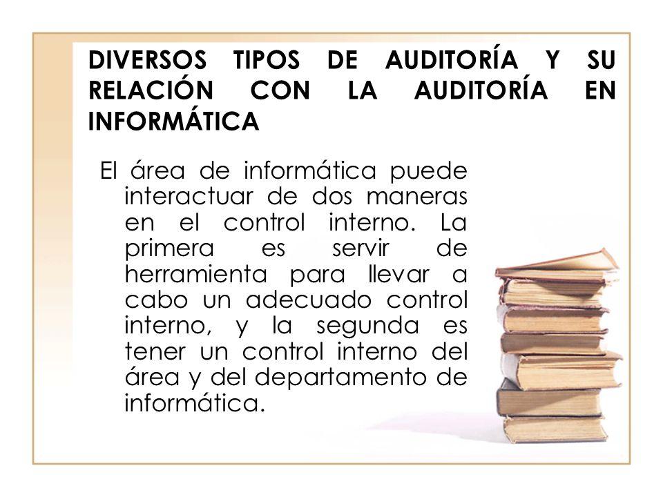 DIVERSOS TIPOS DE AUDITORÍA Y SU RELACIÓN CON LA AUDITORÍA EN INFORMÁTICA El área de informática puede interactuar de dos maneras en el control intern