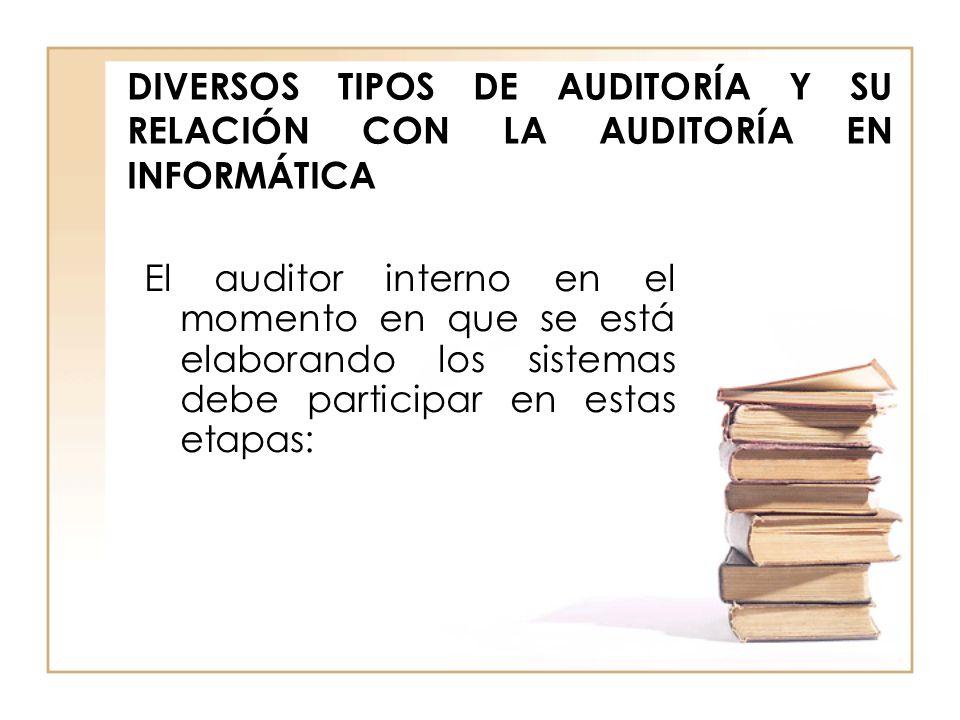 DIVERSOS TIPOS DE AUDITORÍA Y SU RELACIÓN CON LA AUDITORÍA EN INFORMÁTICA El auditor interno en el momento en que se está elaborando los sistemas debe