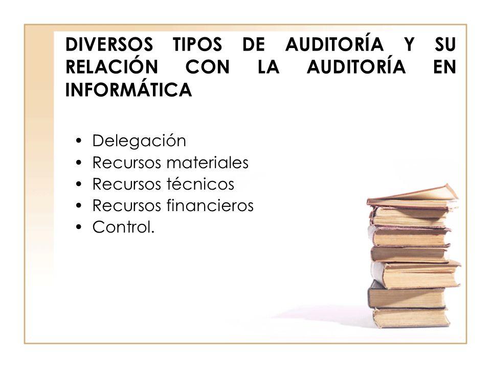 DIVERSOS TIPOS DE AUDITORÍA Y SU RELACIÓN CON LA AUDITORÍA EN INFORMÁTICA Delegación Recursos materiales Recursos técnicos Recursos financieros Contro