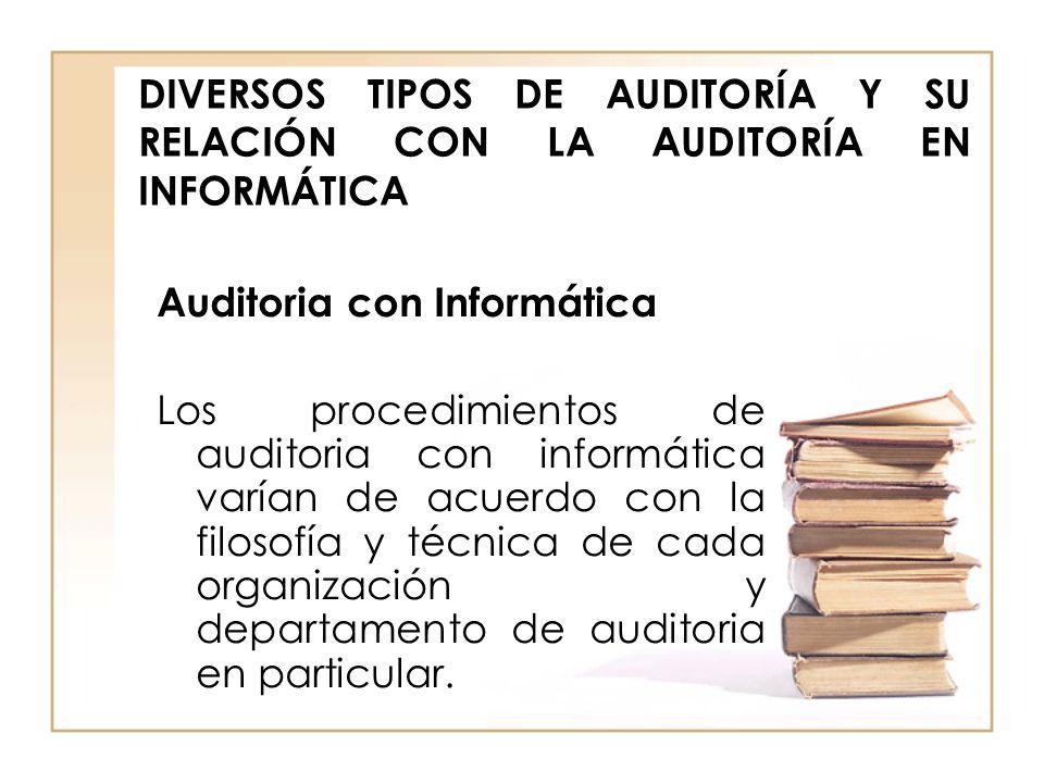 DIVERSOS TIPOS DE AUDITORÍA Y SU RELACIÓN CON LA AUDITORÍA EN INFORMÁTICA Auditoria con Informática Los procedimientos de auditoria con informática va