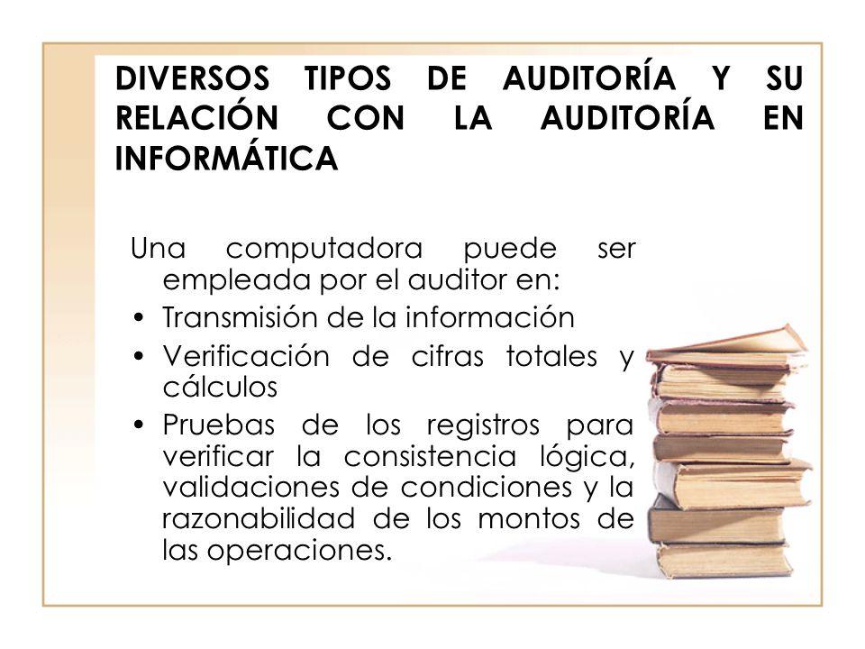 DIVERSOS TIPOS DE AUDITORÍA Y SU RELACIÓN CON LA AUDITORÍA EN INFORMÁTICA Una computadora puede ser empleada por el auditor en: Transmisión de la info