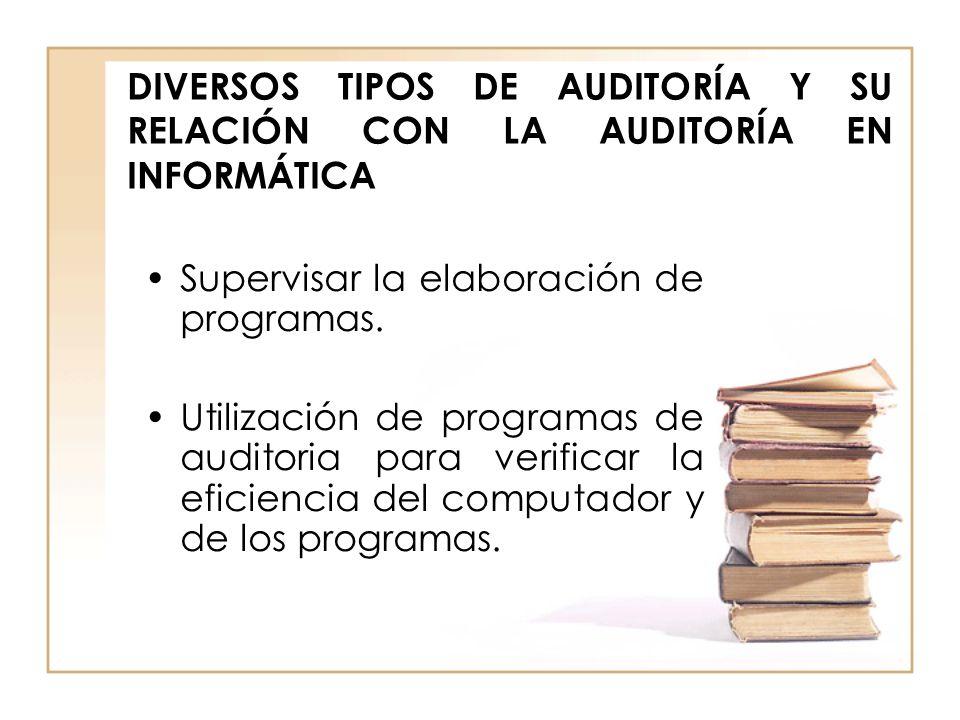 DIVERSOS TIPOS DE AUDITORÍA Y SU RELACIÓN CON LA AUDITORÍA EN INFORMÁTICA Supervisar la elaboración de programas. Utilización de programas de auditori