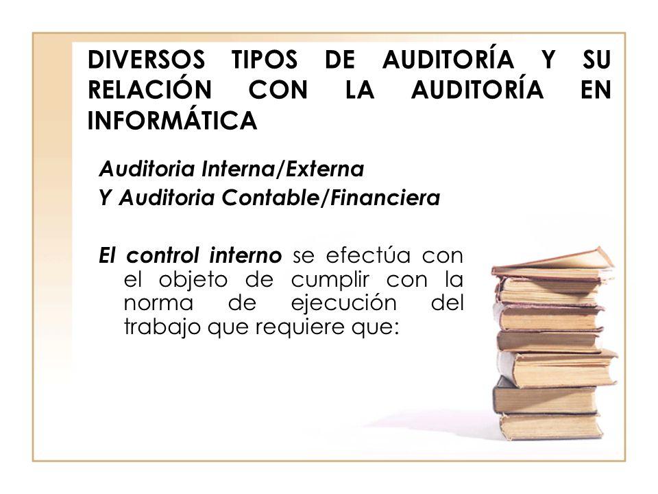 DIVERSOS TIPOS DE AUDITORÍA Y SU RELACIÓN CON LA AUDITORÍA EN INFORMÁTICA Auditoria Interna/Externa Y Auditoria Contable/Financiera El control interno