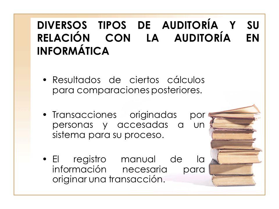 DIVERSOS TIPOS DE AUDITORÍA Y SU RELACIÓN CON LA AUDITORÍA EN INFORMÁTICA Resultados de ciertos cálculos para comparaciones posteriores. Transacciones