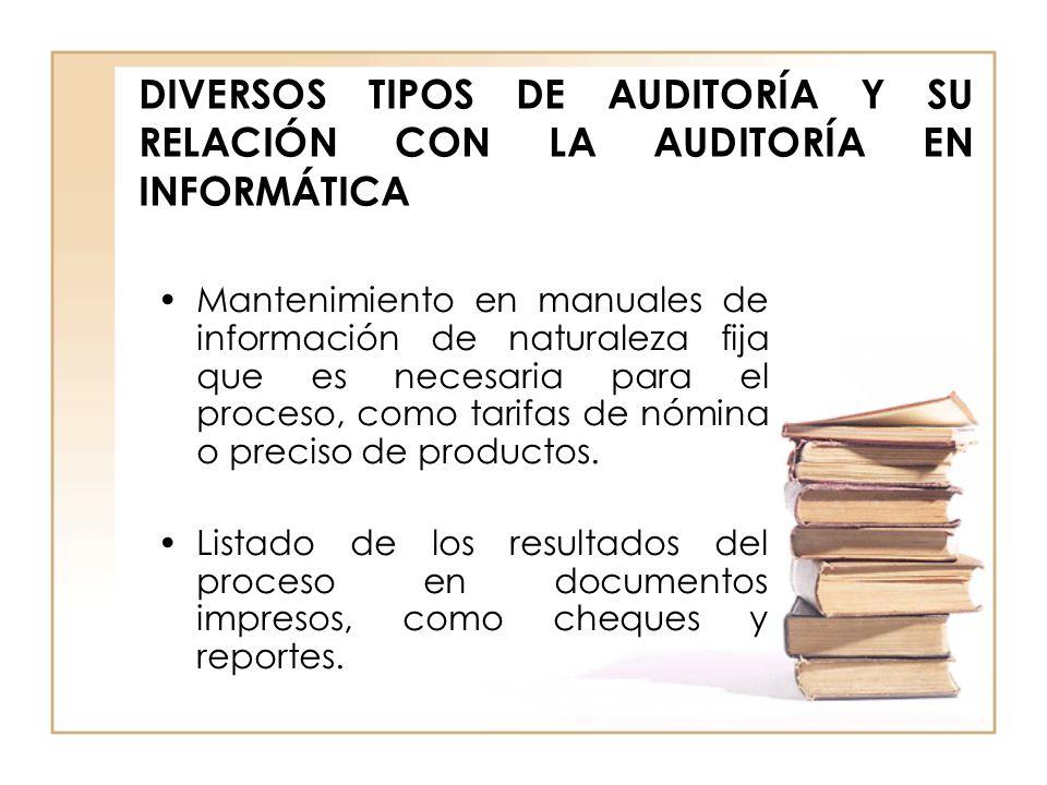 DIVERSOS TIPOS DE AUDITORÍA Y SU RELACIÓN CON LA AUDITORÍA EN INFORMÁTICA Mantenimiento en manuales de información de naturaleza fija que es necesaria