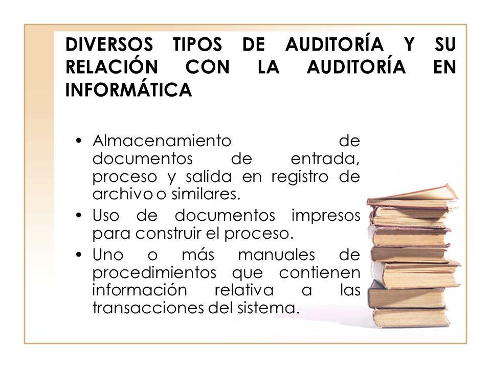 DIVERSOS TIPOS DE AUDITORÍA Y SU RELACIÓN CON LA AUDITORÍA EN INFORMÁTICA Almacenamiento de documentos de entrada, proceso y salida en registro de arc
