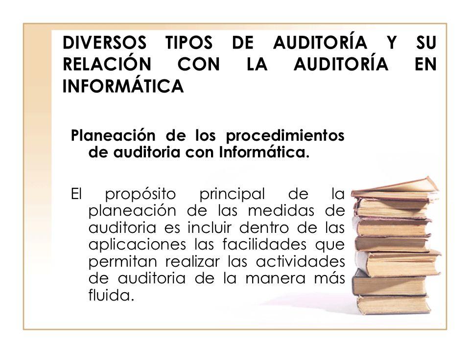 DIVERSOS TIPOS DE AUDITORÍA Y SU RELACIÓN CON LA AUDITORÍA EN INFORMÁTICA Planeación de los procedimientos de auditoria con Informática. El propósito