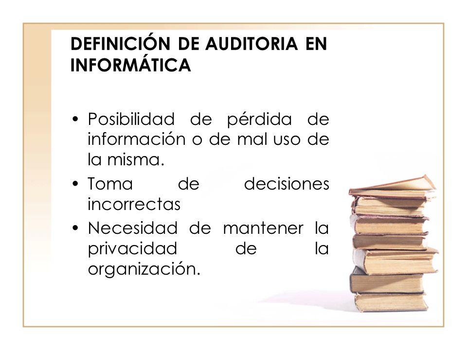 DEFINICIÓN DE AUDITORIA EN INFORMÁTICA Posibilidad de pérdida de información o de mal uso de la misma. Toma de decisiones incorrectas Necesidad de man