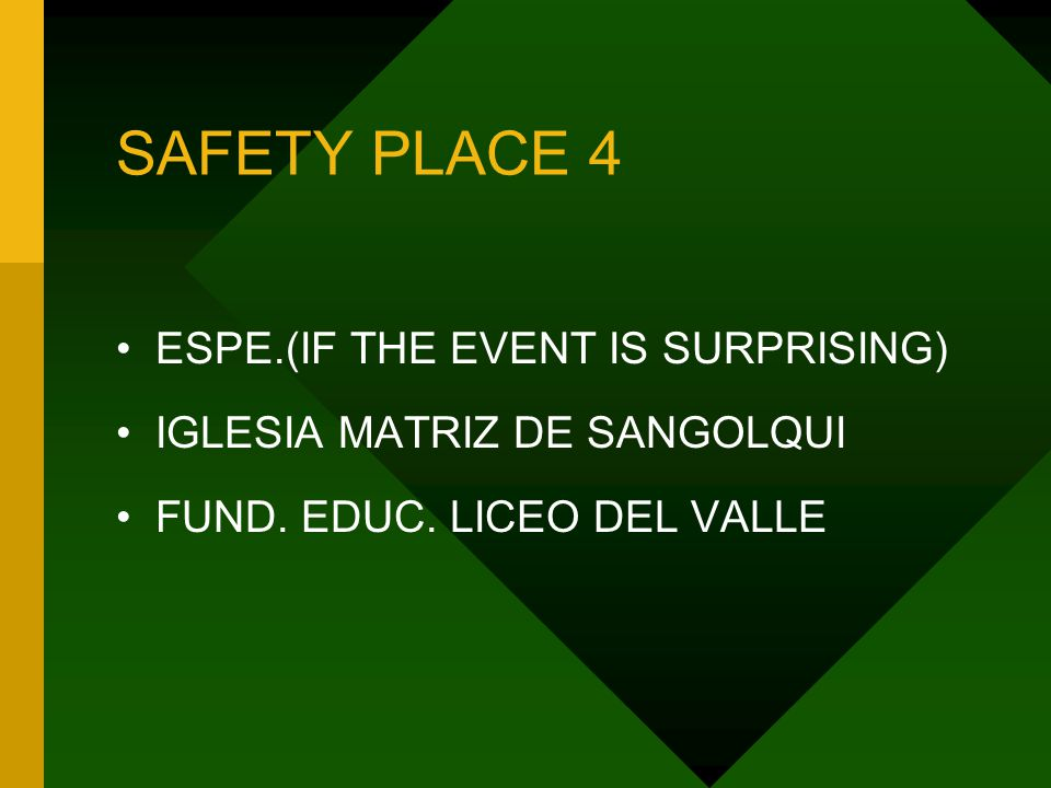 SAFETY PLACE 4 ESPE.(IF THE EVENT IS SURPRISING) IGLESIA MATRIZ DE SANGOLQUI FUND.