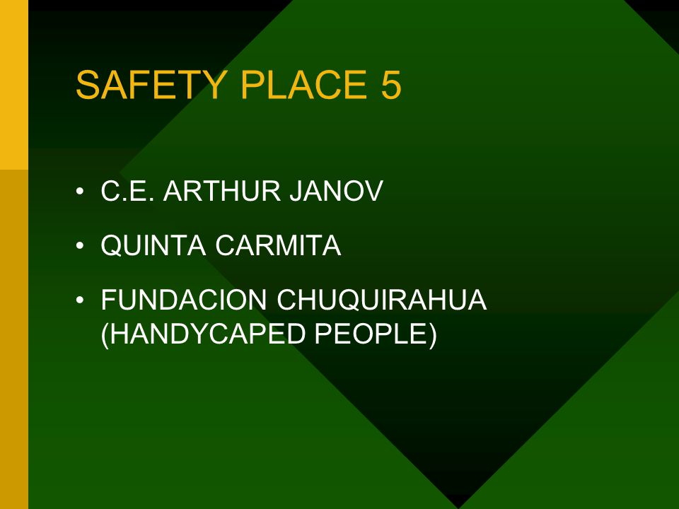 SAFETY PLACE 5 C.E. ARTHUR JANOV QUINTA CARMITA FUNDACION CHUQUIRAHUA (HANDYCAPED PEOPLE)