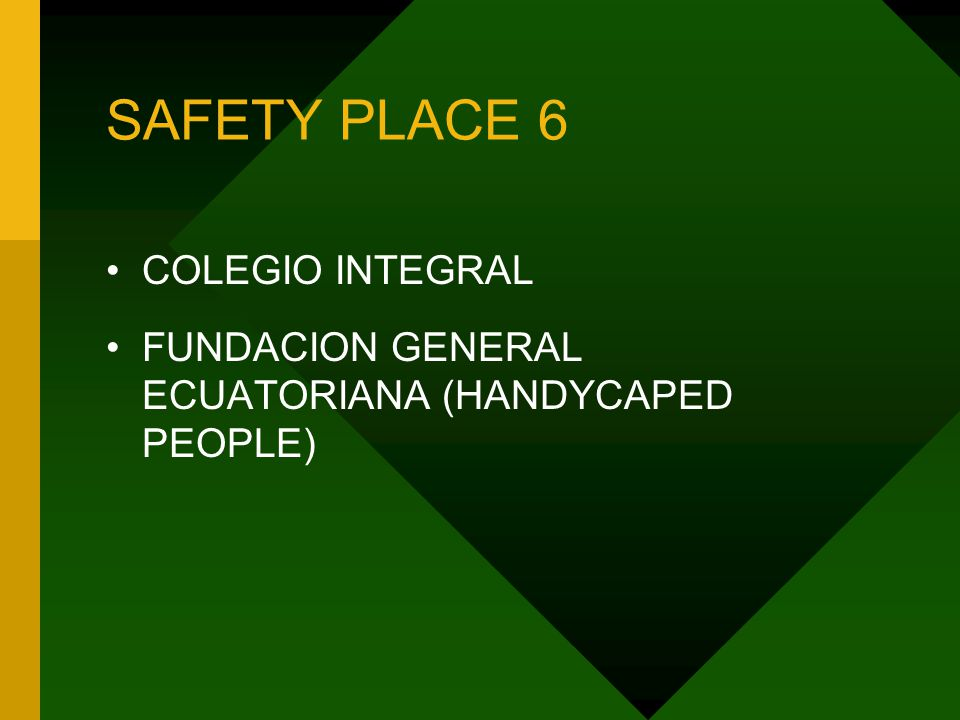 SAFETY PLACE 6 COLEGIO INTEGRAL FUNDACION GENERAL ECUATORIANA (HANDYCAPED PEOPLE)
