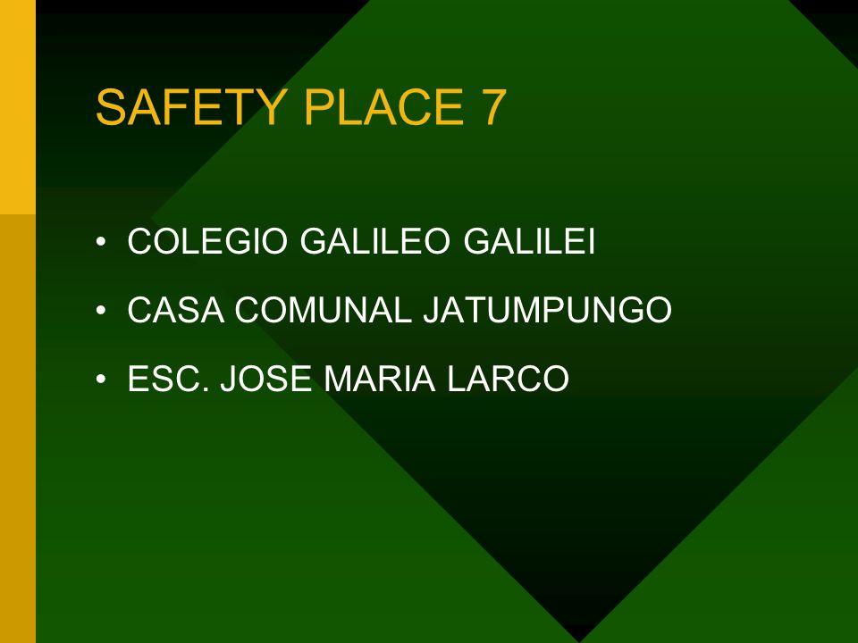 SAFETY PLACE 7 COLEGIO GALILEO GALILEI CASA COMUNAL JATUMPUNGO ESC. JOSE MARIA LARCO