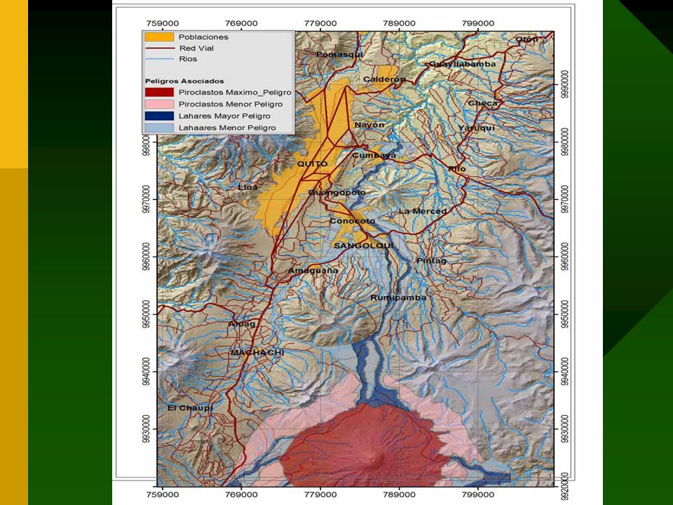 The zones in El Cant ó n Rumi ñ ahui affected by the lahares in case of an eruption of Cotopaxi are: