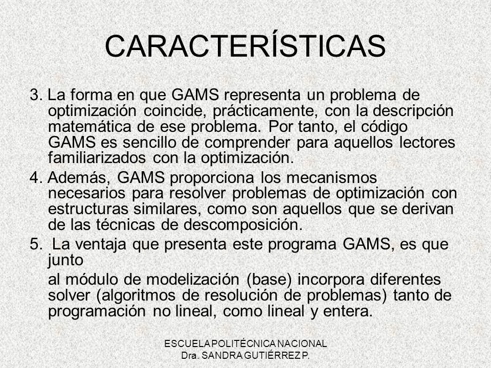ESCUELA POLITÉCNICA NACIONAL Dra. SANDRA GUTIÉRREZ P. 3. La forma en que GAMS representa un problema de optimización coincide, prácticamente, con la d