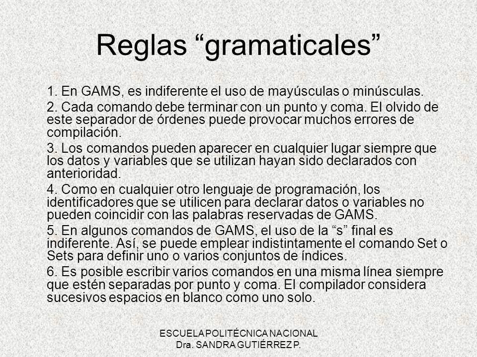 ESCUELA POLITÉCNICA NACIONAL Dra. SANDRA GUTIÉRREZ P. Reglas gramaticales 1. En GAMS, es indiferente el uso de mayúsculas o minúsculas. 2. Cada comand