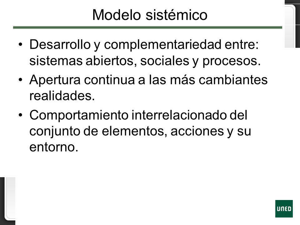 Modelo sistémico Desarrollo y complementariedad entre: sistemas abiertos, sociales y procesos. Apertura continua a las más cambiantes realidades. Comp