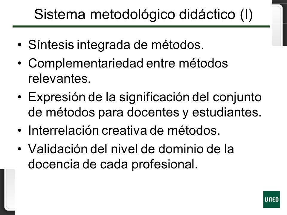 Sistema metodológico didáctico (I) Síntesis integrada de métodos. Complementariedad entre métodos relevantes. Expresión de la significación del conjun