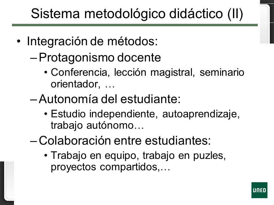 Sistema metodológico didáctico (II) Integración de métodos: –Protagonismo docente Conferencia, lección magistral, seminario orientador, … –Autonomía d