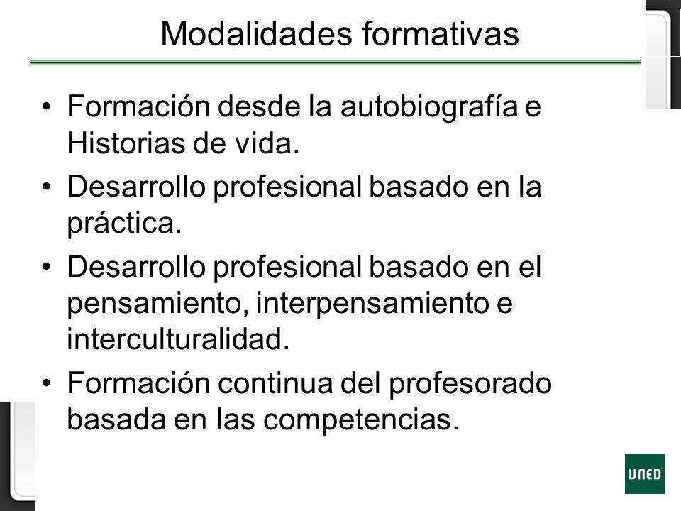 Modalidades formativas Formación desde la autobiografía e Historias de vida. Desarrollo profesional basado en la práctica. Desarrollo profesional basa