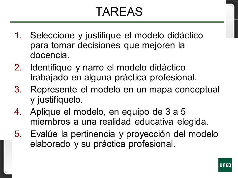 TAREAS 1.Seleccione y justifique el modelo didáctico para tomar decisiones que mejoren la docencia. 2.Identifique y narre el modelo didáctico trabajad