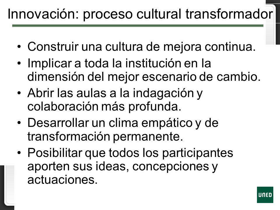 Innovación: proceso cultural transformador Construir una cultura de mejora continua. Implicar a toda la institución en la dimensión del mejor escenari