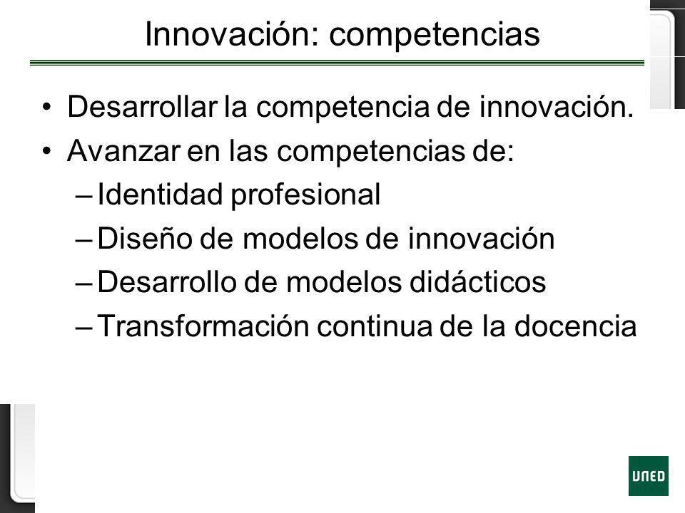 Innovación: competencias Desarrollar la competencia de innovación. Avanzar en las competencias de: –Identidad profesional –Diseño de modelos de innova