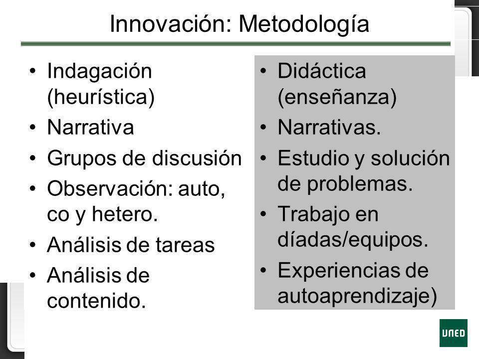 Innovación: Metodología Indagación (heurística) Narrativa Grupos de discusión Observación: auto, co y hetero. Análisis de tareas Análisis de contenido