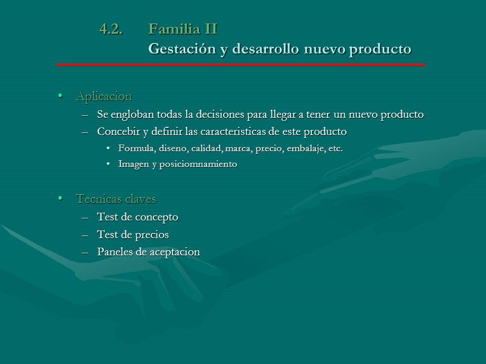 4.2. Familia II Gestación y desarrollo nuevo producto AplicacionAplicacion –Se engloban todas la decisiones para llegar a tener un nuevo producto –Con