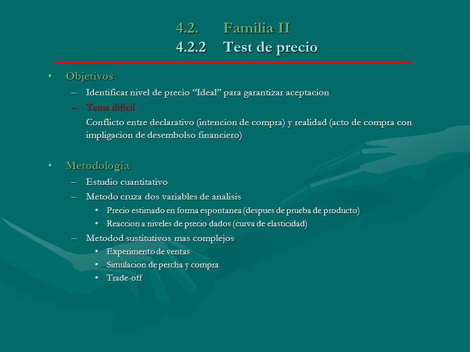 4.2. Familia II 4.2.2Test de precio ObjetivosObjetivos –Identificar nivel de precio Ideal para garantizar aceptacion –Tema dificil Conflicto entre dec