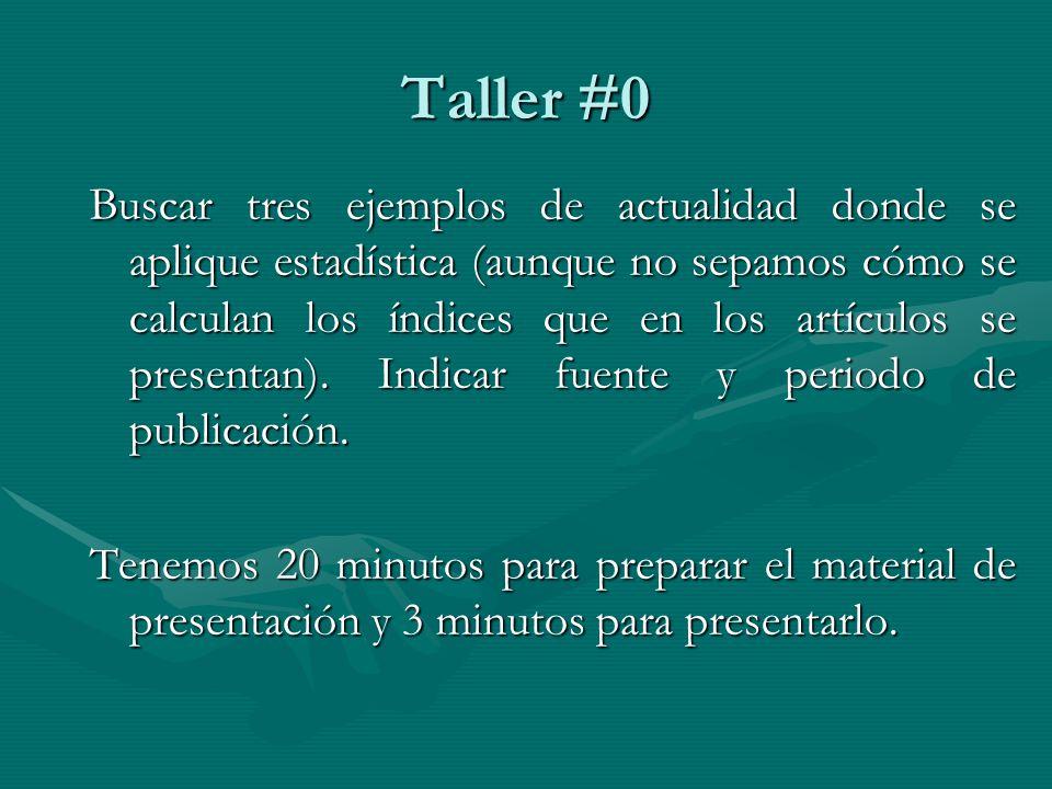 Taller #0 Buscar tres ejemplos de actualidad donde se aplique estadística (aunque no sepamos cómo se calculan los índices que en los artículos se presentan).