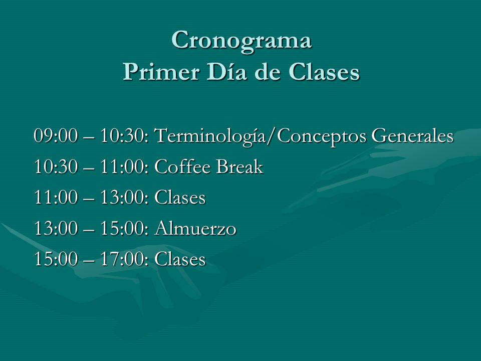 Cronograma Primer Día de Clases 09:00 – 10:30: Terminología/Conceptos Generales 10:30 – 11:00: Coffee Break 11:00 – 13:00: Clases 13:00 – 15:00: Almuerzo 15:00 – 17:00: Clases