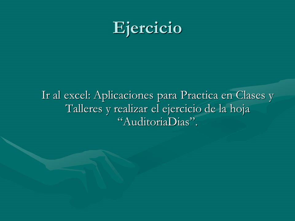 Ejercicio Ir al excel: Aplicaciones para Practica en Clases y Talleres y realizar el ejercicio de la hoja AuditoriaDias.