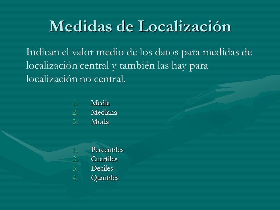 Medidas de Localización 1.Media 2.Mediana 3.Moda 1.Percentiles 2.Cuartiles 3.Deciles 4.Quintiles Indican el valor medio de los datos para medidas de localización central y también las hay para localización no central.
