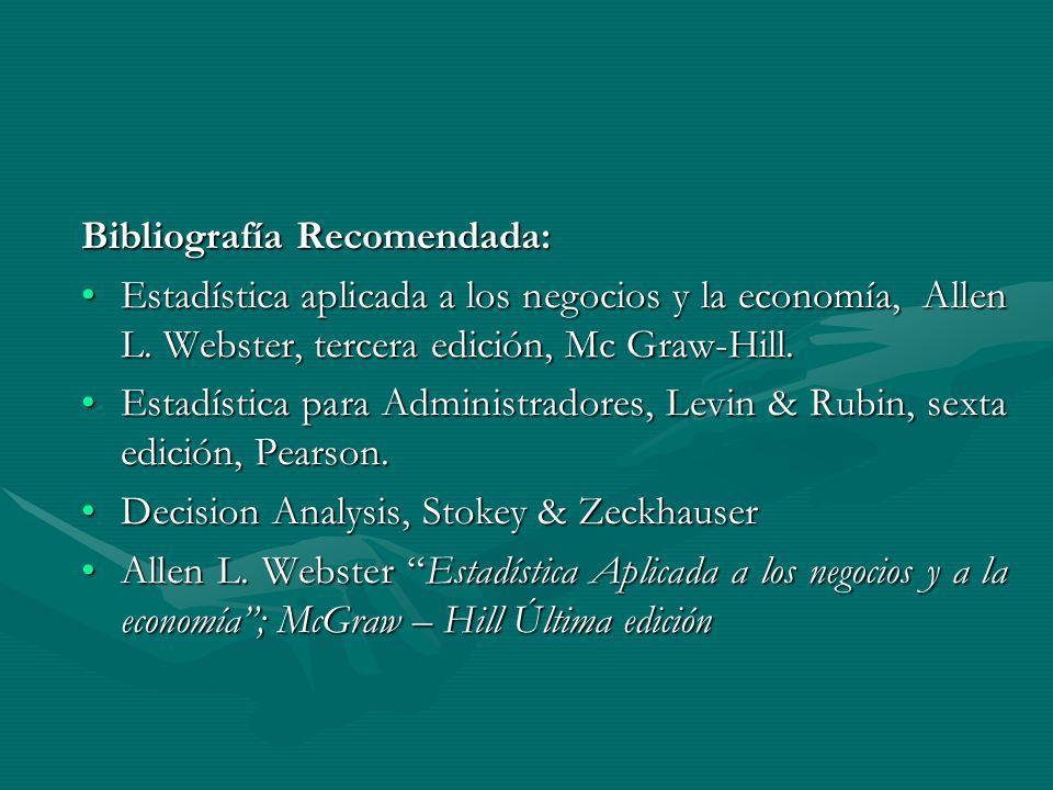 Bibliografía Recomendada: Estadística aplicada a los negocios y la economía, Allen L.