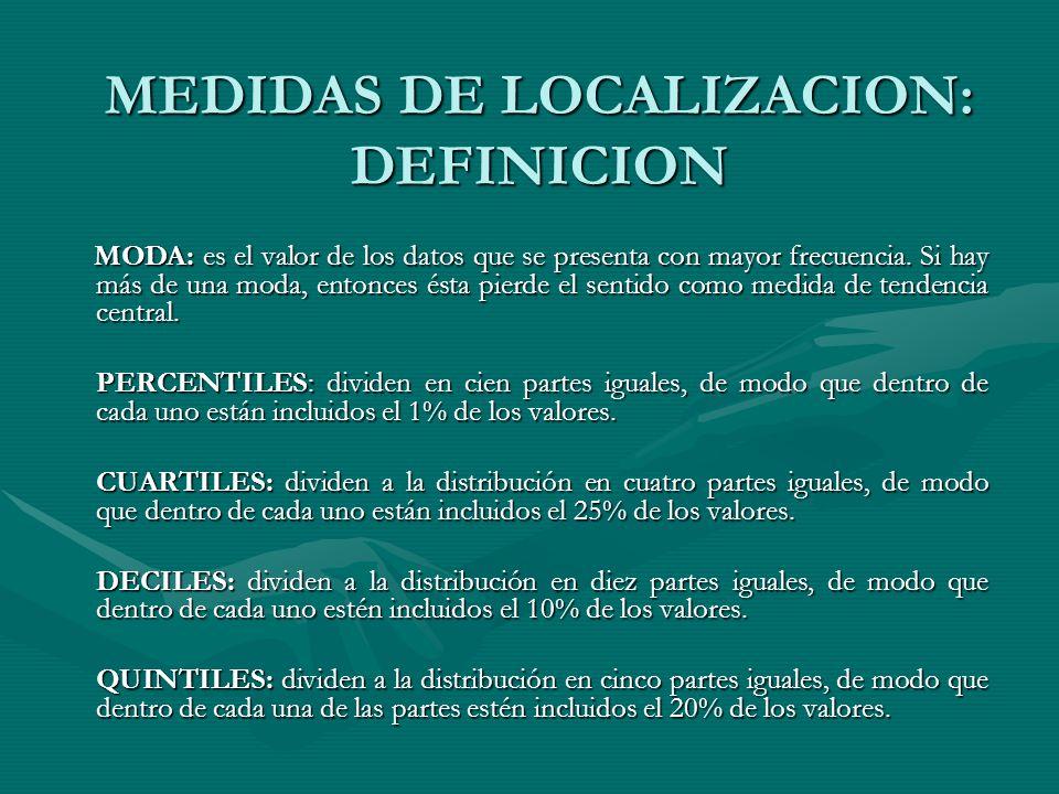 MEDIDAS DE LOCALIZACION: DEFINICION MODA: es el valor de los datos que se presenta con mayor frecuencia.