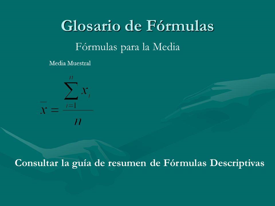 Glosario de Fórmulas Media Muestral Fórmulas para la Media Consultar la guía de resumen de Fórmulas Descriptivas