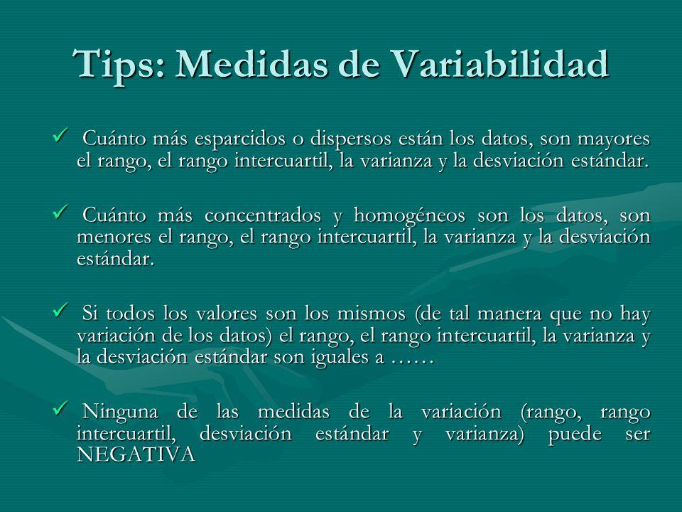 Tips: Medidas de Variabilidad Cuánto más esparcidos o dispersos están los datos, son mayores el rango, el rango intercuartil, la varianza y la desviación estándar.