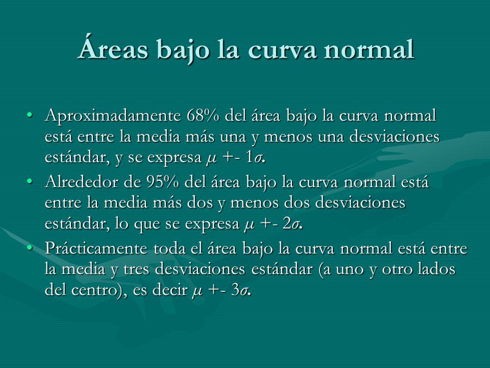 Áreas bajo la curva normal Aproximadamente 68% del área bajo la curva normal está entre la media más una y menos una desviaciones estándar, y se expresa µ +- 1σ.Aproximadamente 68% del área bajo la curva normal está entre la media más una y menos una desviaciones estándar, y se expresa µ +- 1σ.