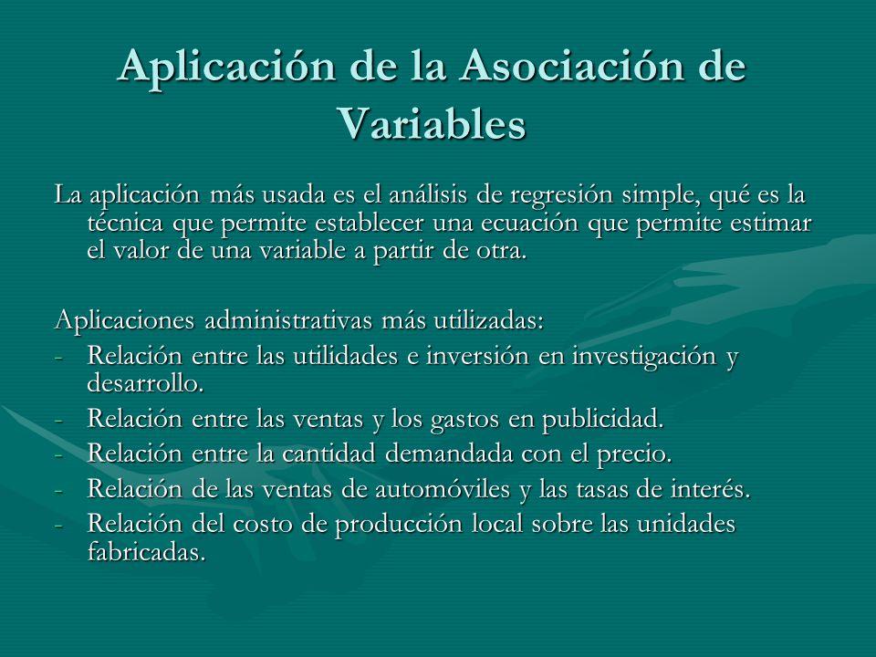 Aplicación de la Asociación de Variables La aplicación más usada es el análisis de regresión simple, qué es la técnica que permite establecer una ecuación que permite estimar el valor de una variable a partir de otra.