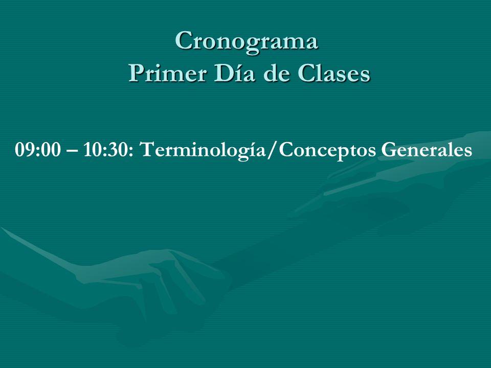 Cronograma Primer Día de Clases 09:00 – 10:30: Terminología/Conceptos Generales