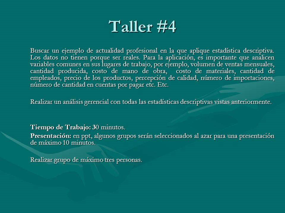 Taller #4 Buscar un ejemplo de actualidad profesional en la que aplique estadística descriptiva.