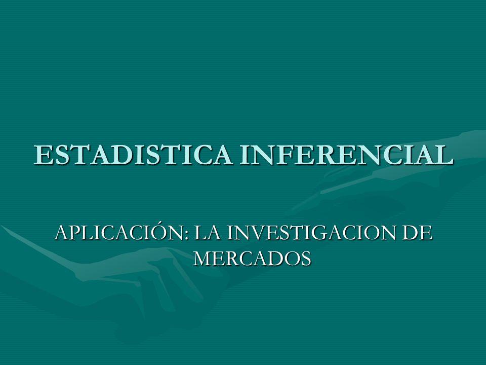 ESTADISTICA INFERENCIAL APLICACIÓN: LA INVESTIGACION DE MERCADOS
