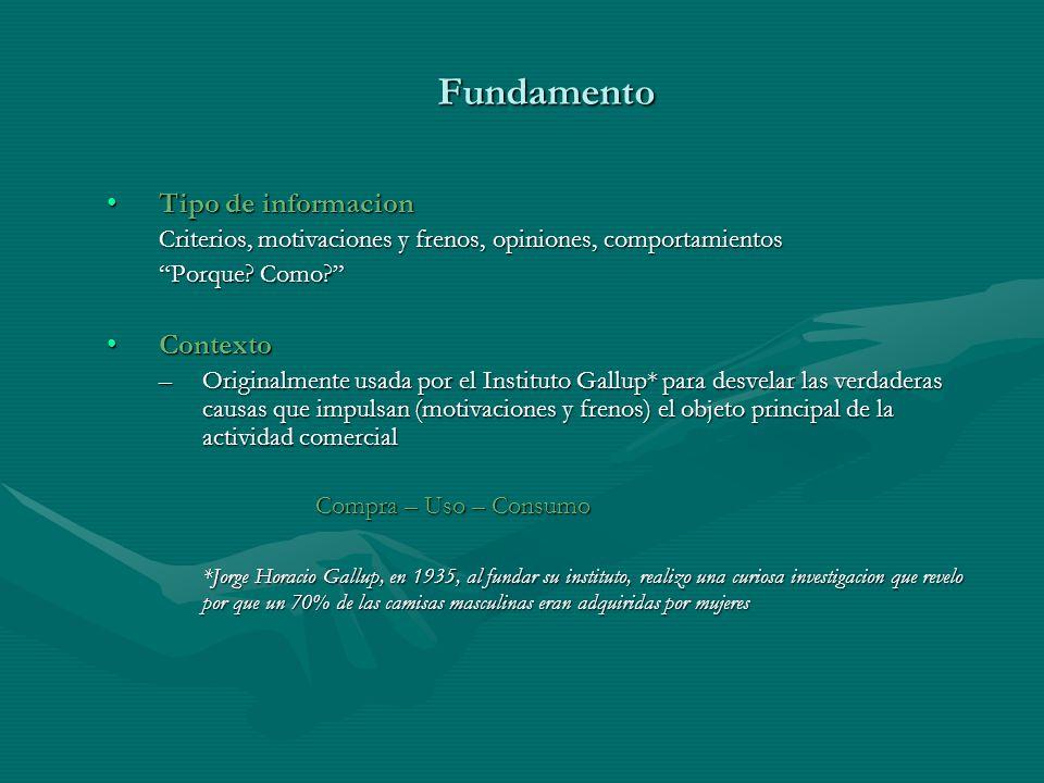 Fundamento Tipo de informacionTipo de informacion Criterios, motivaciones y frenos, opiniones, comportamientos Porque.